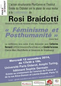 PluriGenre et l'IEC vous invitent à la conférence de Rosi Braidotti, suivie d'un débat avec Catherine Bernard et Estelle Ferrarese